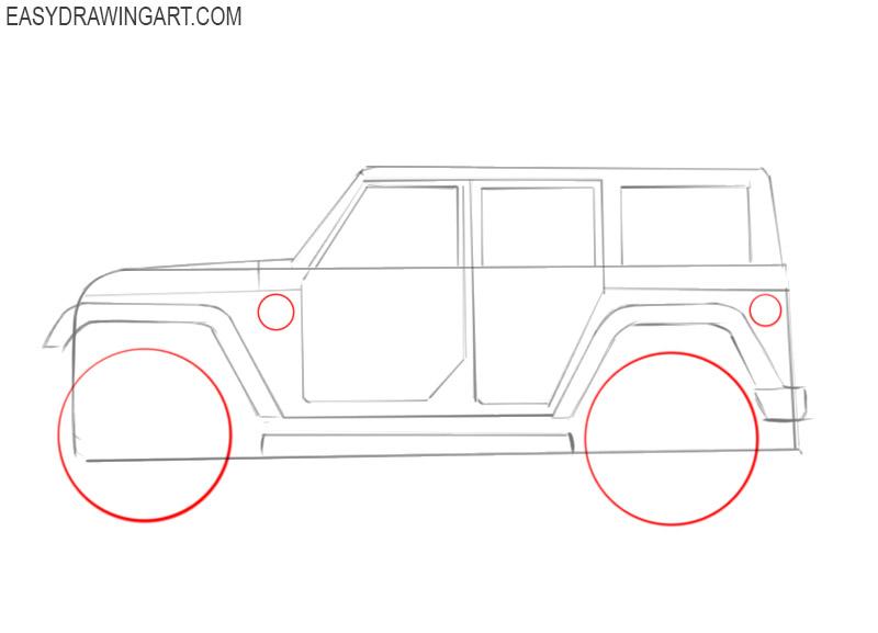 how to draw a cartoon jeep