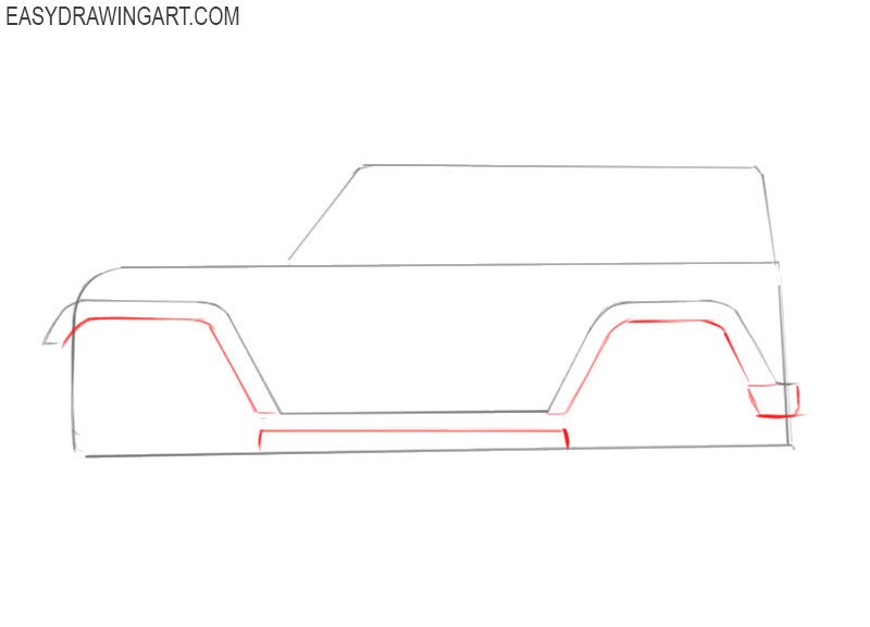 how to draw a jeep easy step by step