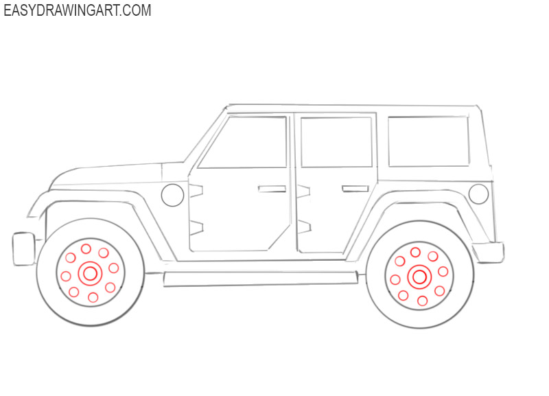 how to draw a simple jeep