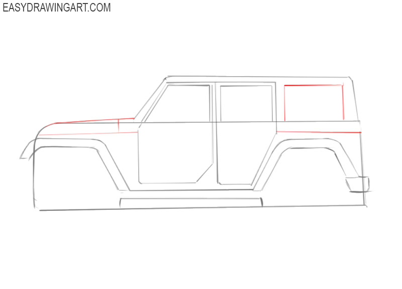 how to draw jeep car step by step