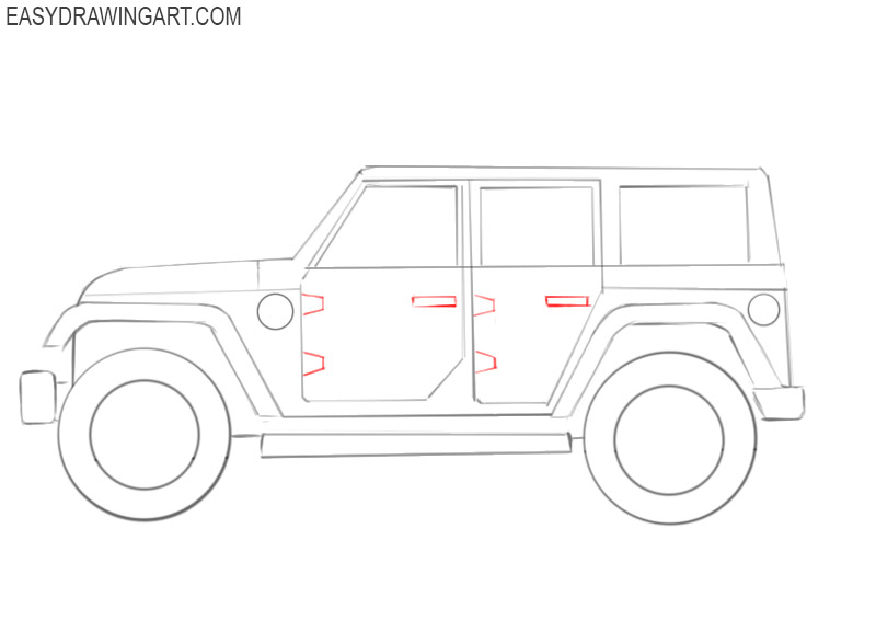 show me how to draw a jeep