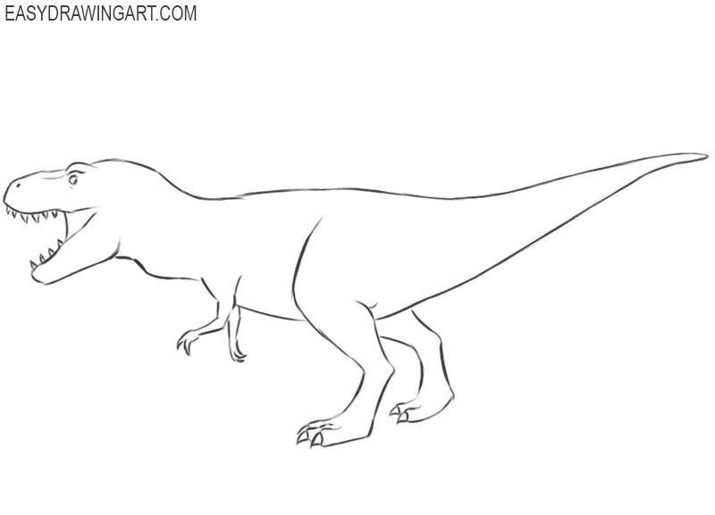t rex drawing step by step