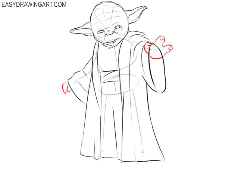 how to draw cartoon yoda step by step