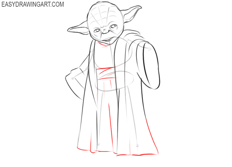how to draw master yoda step by step