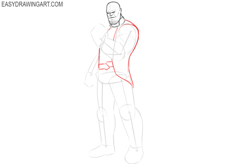 how to draw thanos step by step full body