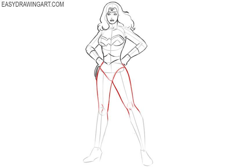 how to draw wonder woman easily