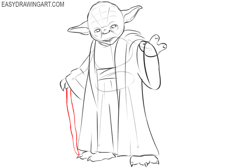 how to draw yoda from star wars easy
