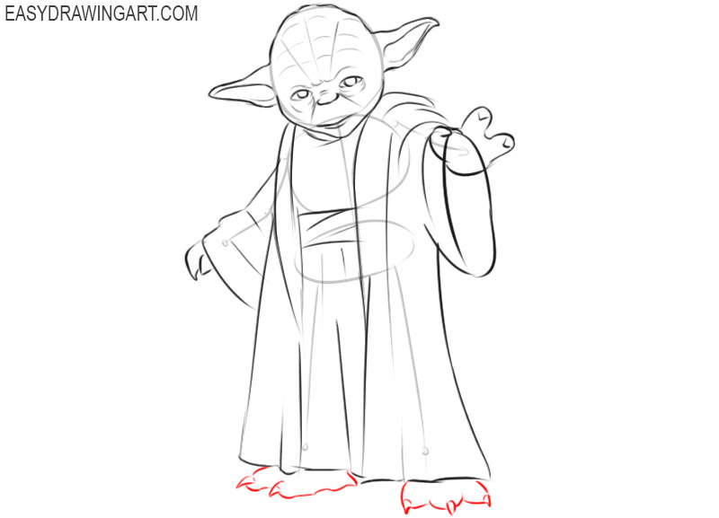 how to draw yoda from star wars step by step
