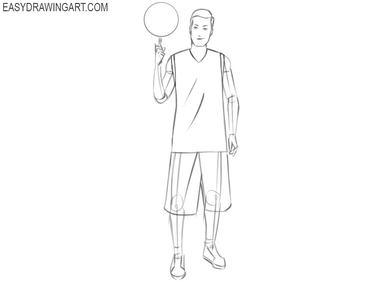 basketball player drawing step by step