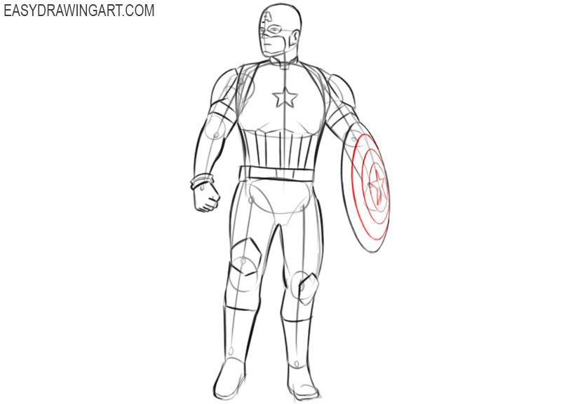 captain america drawing cartoon