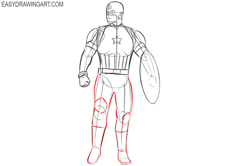 captain america drawing easy