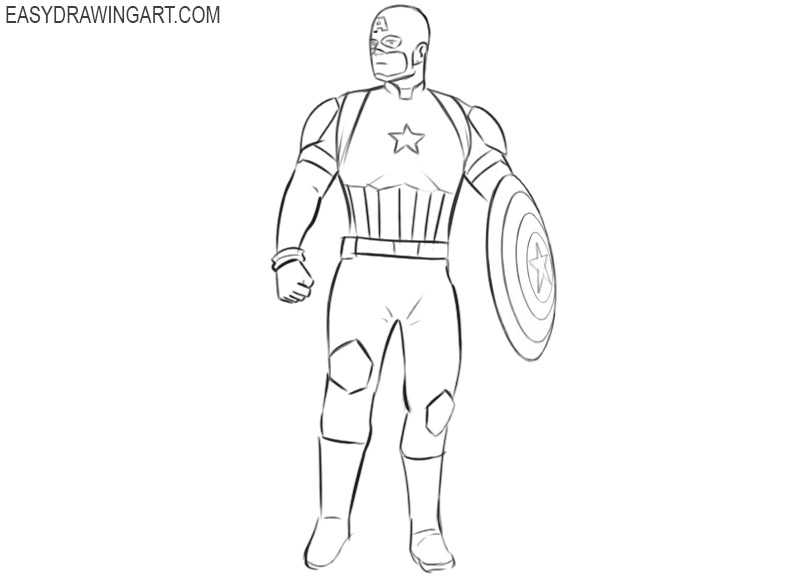 captain america drawing step by step