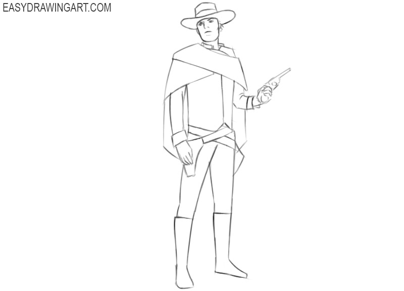 cowboy drawing images step by step