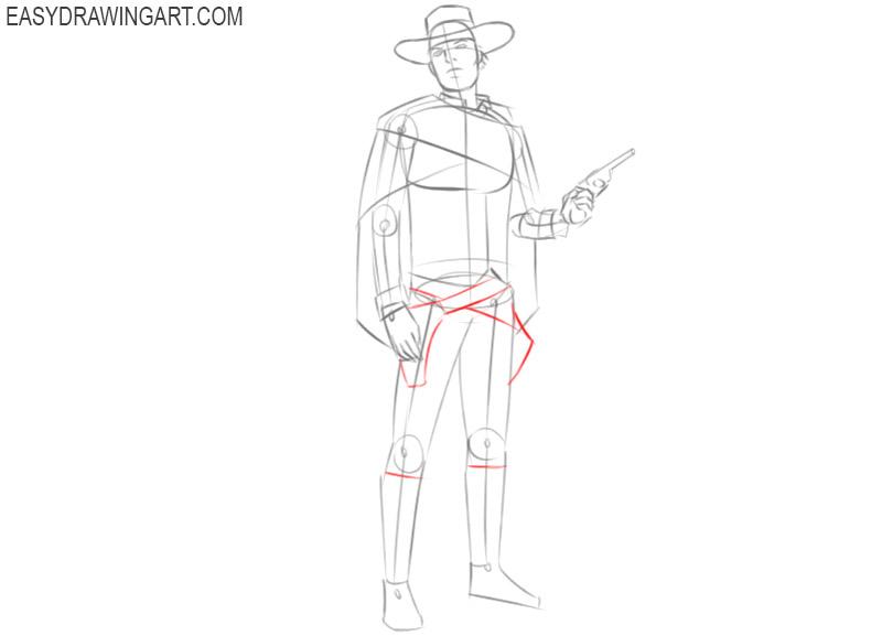 cowboy drawing step by step