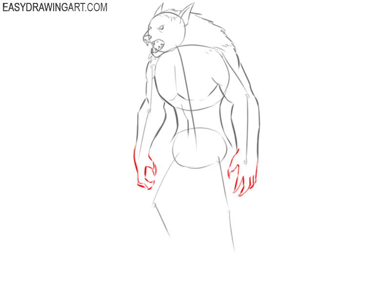 easy way to draw a cartoon werewolf