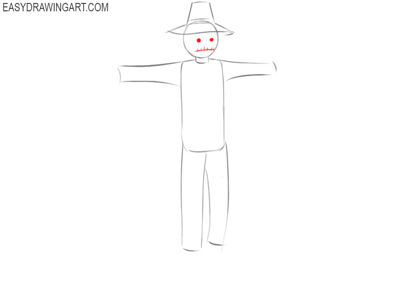 easy way to draw a scarecrow