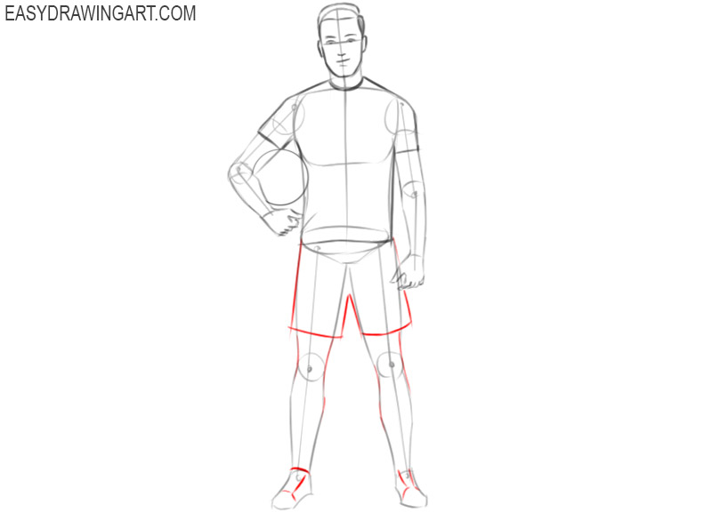 football player drawing step by step