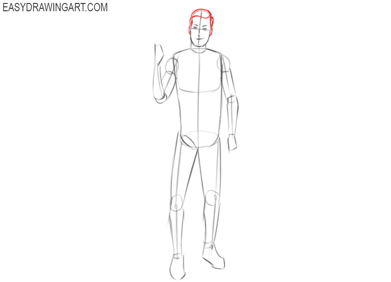 how to draw a basketball player easy step by step