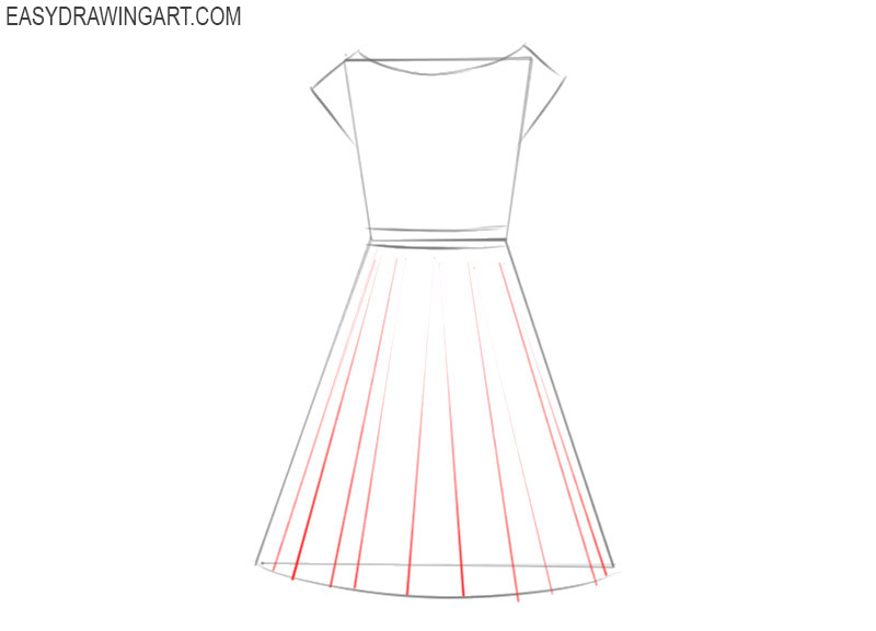 how to draw a beautiful dress easy