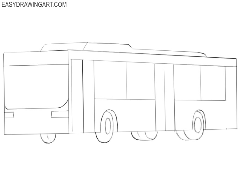 how to draw a bus in steps
