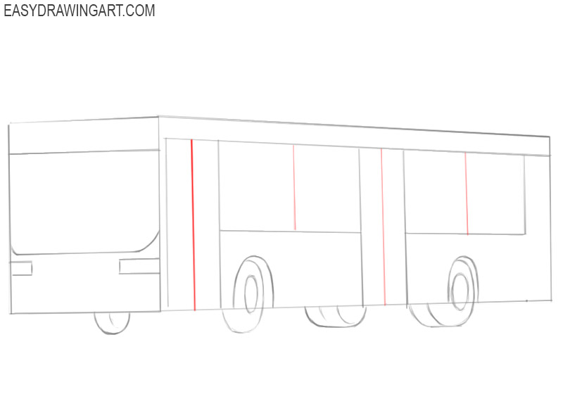 how to draw a bus step by step drawing