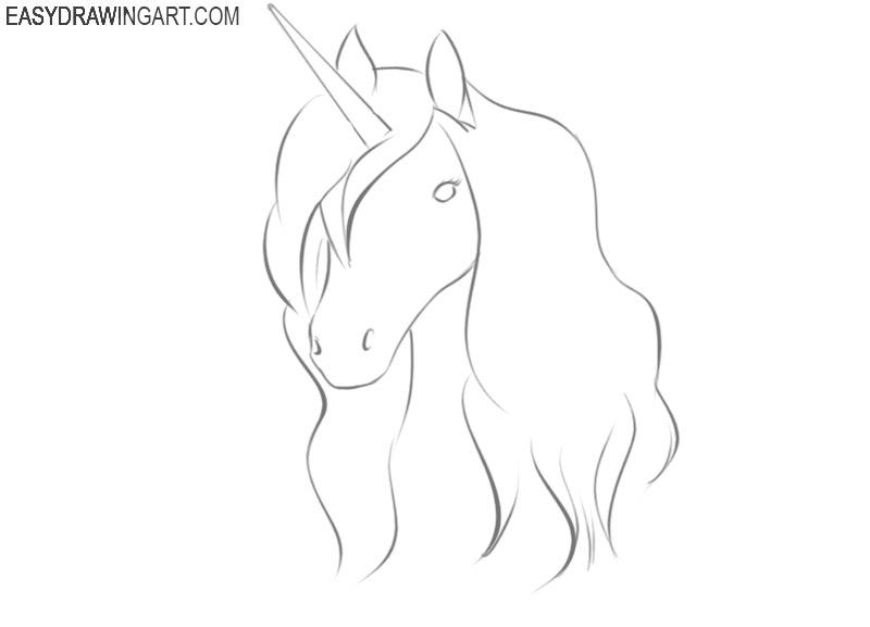 how to draw a cartoon unicorn head step by step