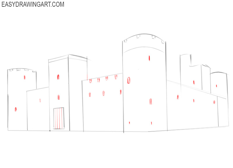 how to draw a castle with colour
