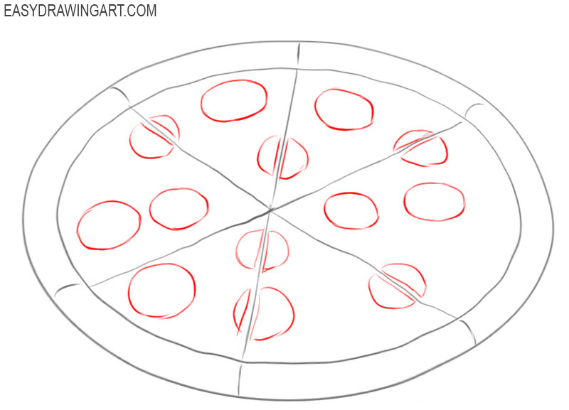 how to draw a cheese pizza