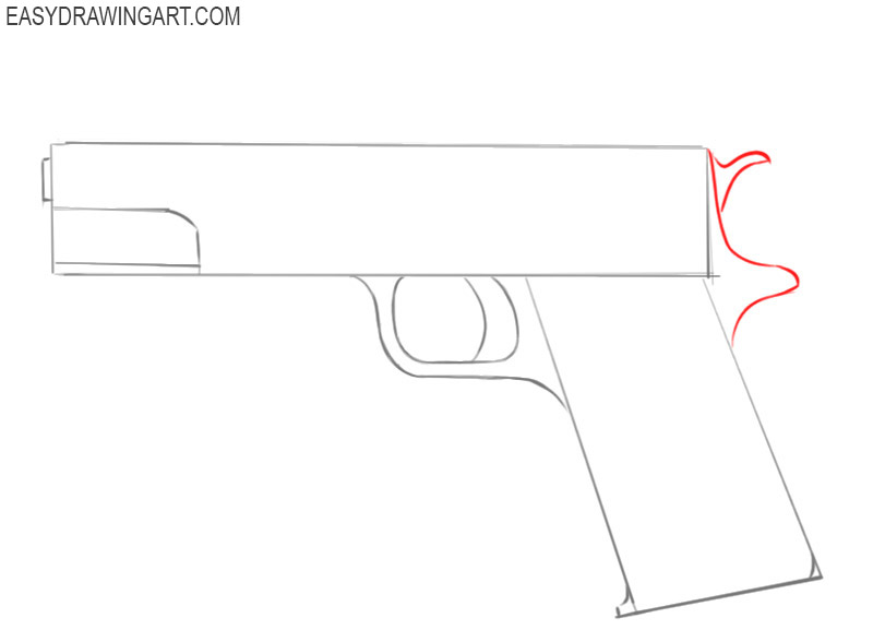 how to draw a cool gun step by step