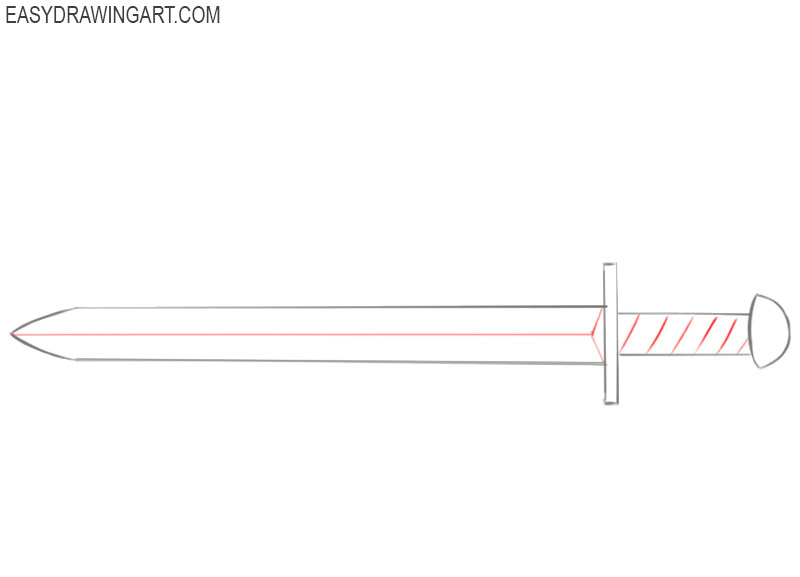 how to draw a cool sword easy
