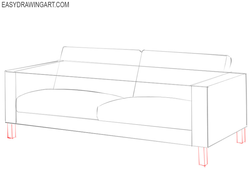 how to draw a couch on paper