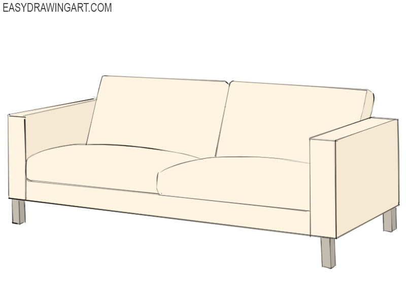 How To Draw A Couch Easy Drawing Art