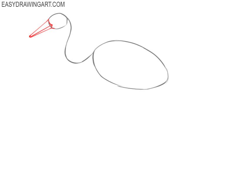 how to draw a crane bird easy