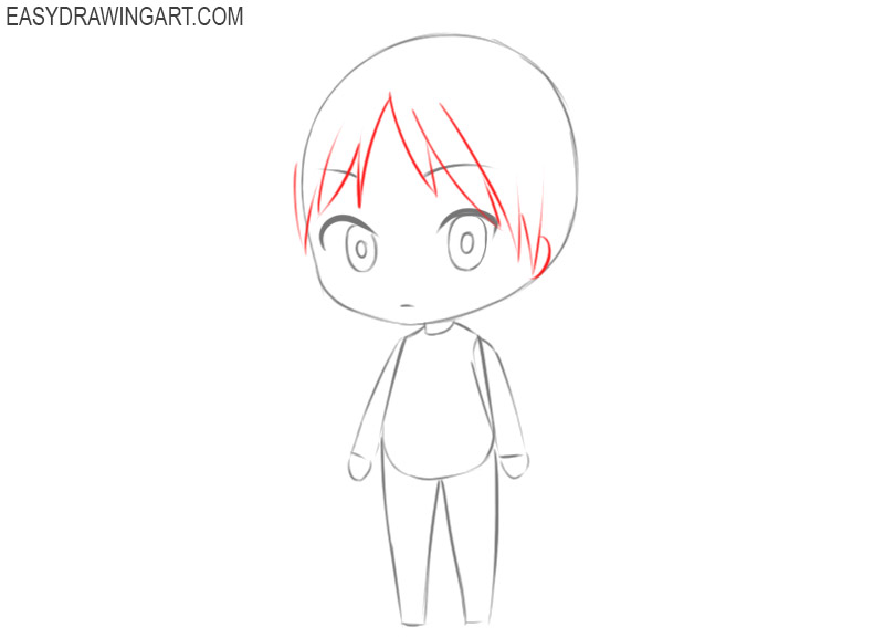 how to draw a cute chibi girl easy