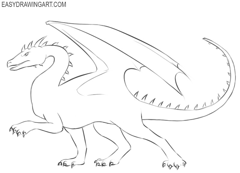 how to draw a dragon cute and easy