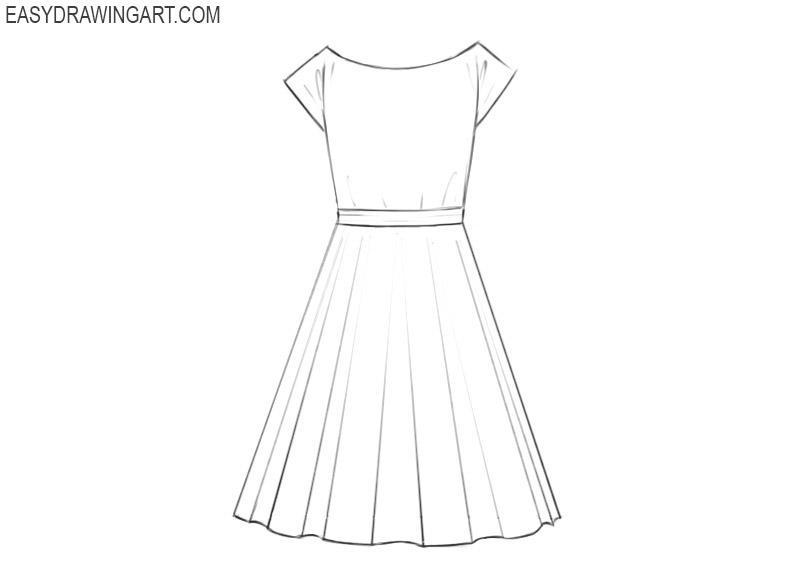 how to draw a dress cartoon