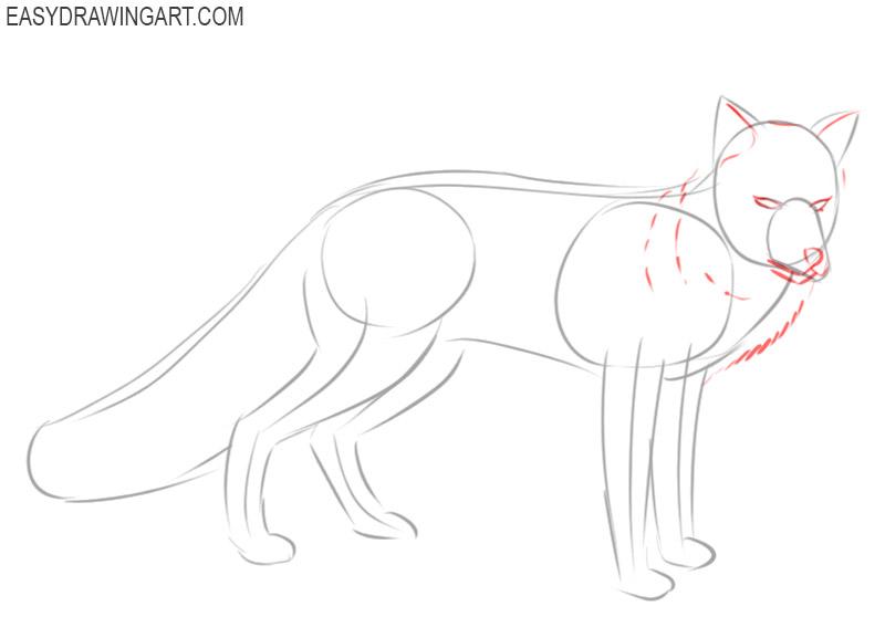 how to draw a fox cartoon easy