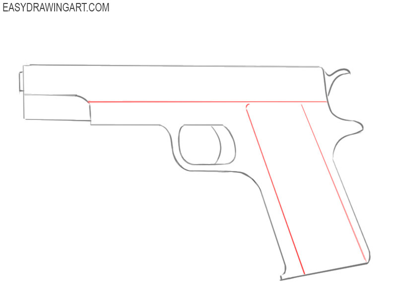 how to draw a gun easy step by step