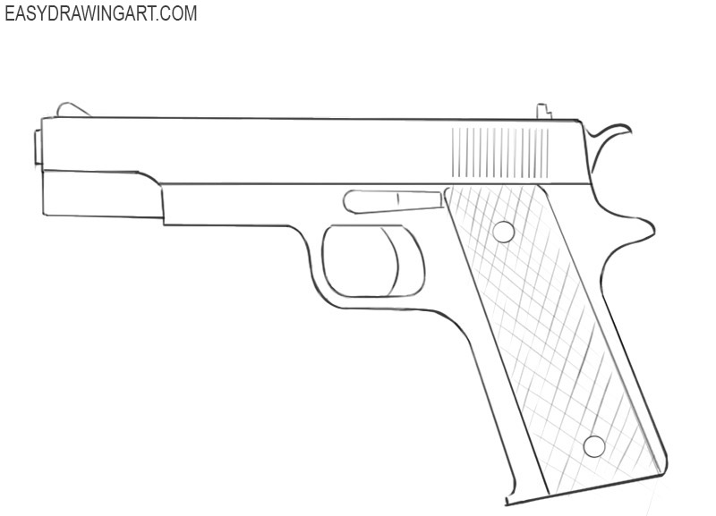 how to draw a gun in steps