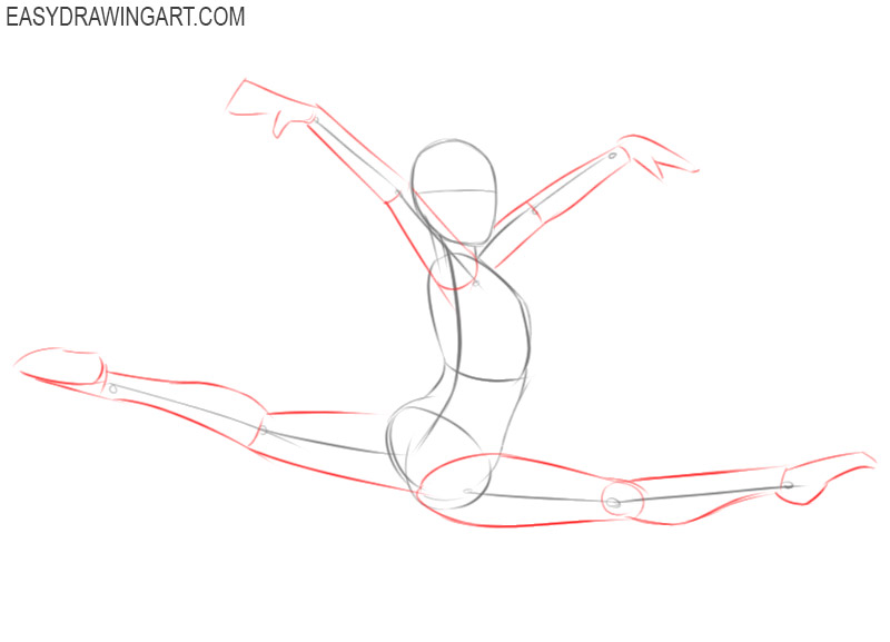 how to draw a gymnast step by step easy