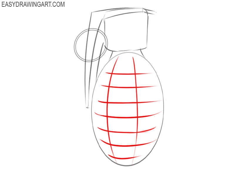 how to draw a hand grenade step by step