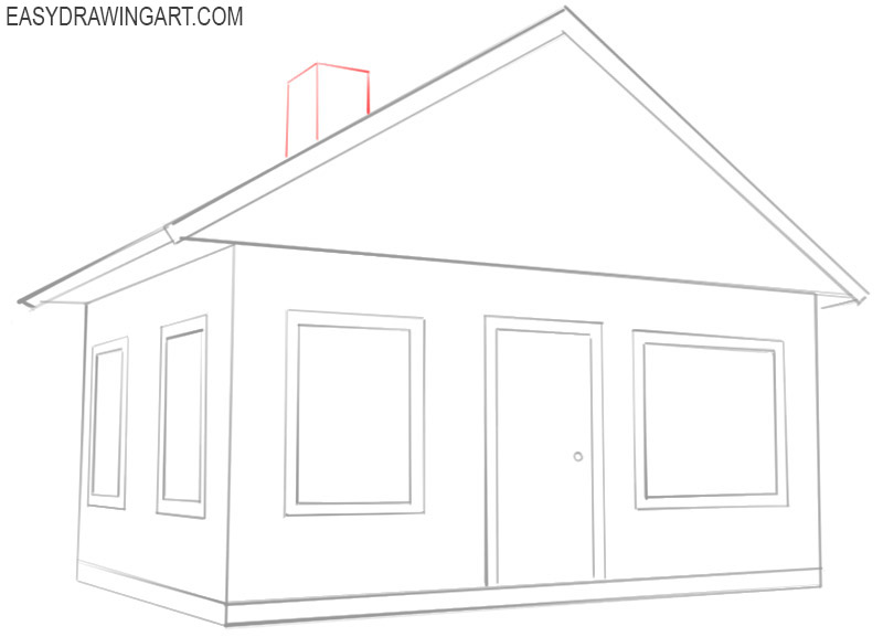 how to draw a house easy step by step