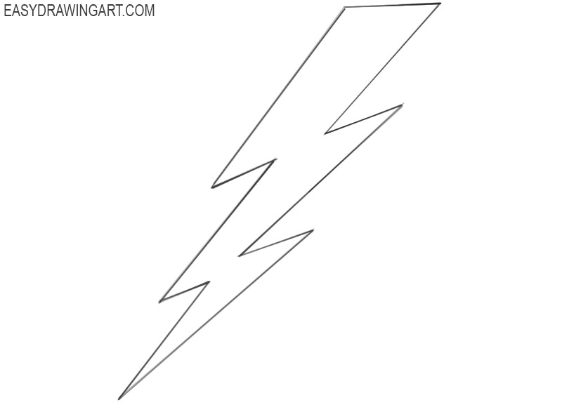 how to draw a lightning bolt step by step easy