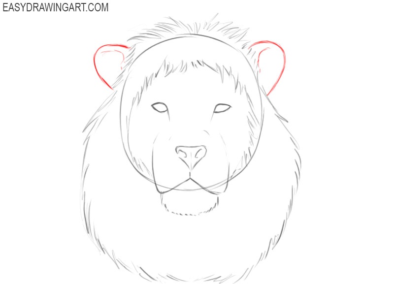 how to draw a lion head step by step in pencil