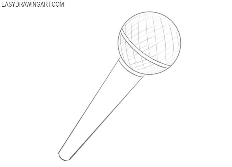 How to draw a microphone in steps
