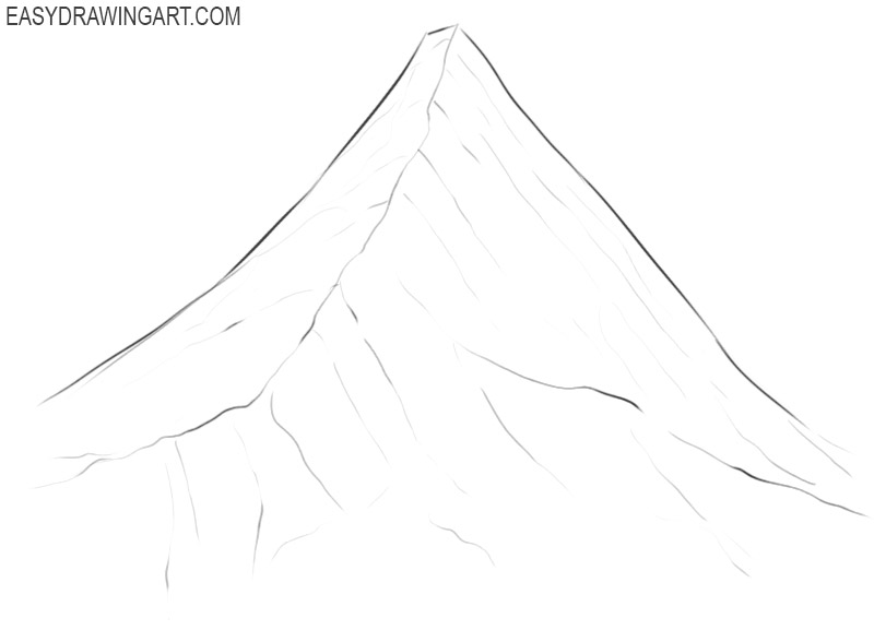 how to draw a mountain cartoon