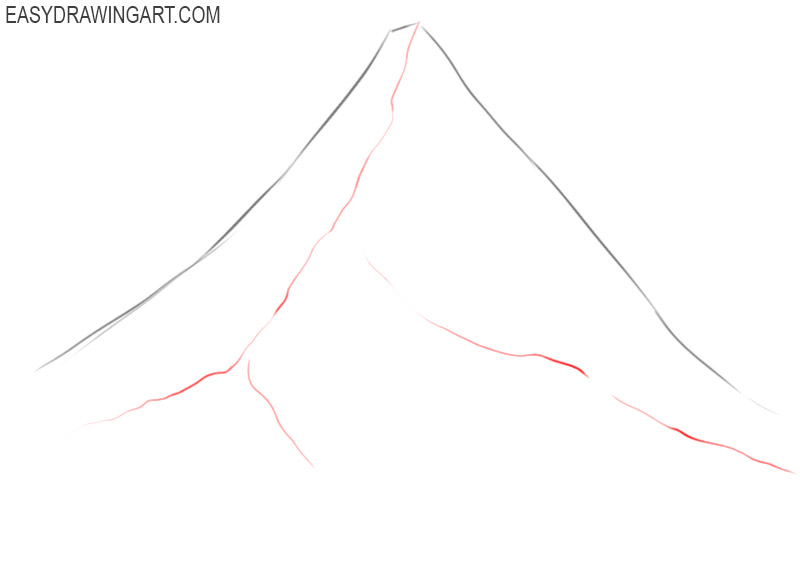 how to draw a mountain step by step
