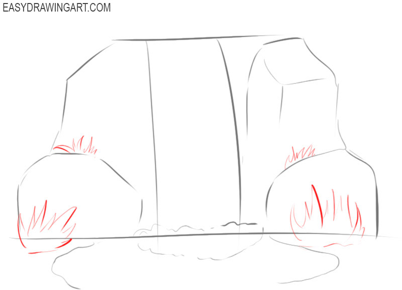 how to draw a picture of a waterfall