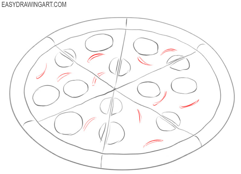 how to draw a pizza easy steps