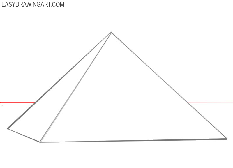 How to draw a pyramid step by step